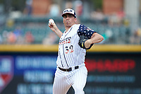 Charlotte Knights relief pitcher Zach Thompson (32) in action against the Durham Bulls at BB&T BallPark on May 27, 2019 in Charlotte, North Carolina. The Bulls defeated the Knights 10-0. (Brian Westerholt/Four Seam Images)