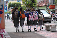 School girls on Ambato Street, Banos, Ecuador