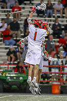 College Park, MD - April 27, 2019: Maryland Terrapins attack Jared Bernhardt (1) celebrates after a goal during the game between John Hopkins and Maryland at  Capital One Field at Maryland Stadium in College Park, MD.  (Photo by Elliott Brown/Media Images International)