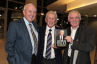 4/11/10 John Giles with Bill O'Herlihy and Eamon Dunphy at the launch of his autobiography A Football Man, at the Aviva Stadium, Dublin. Picture:Arthur Carron/Collins