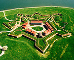 Aerial view of Fort McHenry National Park, Baltimore, MD