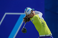 Chella Choi watches her drive off of the 1st tee during Round 3 at the ANA Inspiration, Mission Hills Country Club, Rancho Mirage, Calafornia, USA. {03/31/2018}.<br />