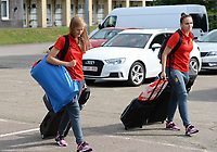 20170725 - TILBURG , NETHERLANDS :  Belgian Julie Biesmans (left) and Nicky Evrard (r) pictured going back to Belgium as the Belgian national women's soccer team Red Flames was not able to qualify for the quarter finals after a loss against The Netherlands , on Tuesday 25 July 2017 in Tilburg . The Red Flames finished on 3 th place in Group A at the Women's European Championship 2017 in the Netherlands. PHOTO SPORTPIX.BE | DAVID CATRY