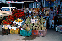 Fruit vendor selling many tropical delights like durian, rambutans, and mangosteens, which are very popular with the locals. AoNang - Krabi province, Southern Thailand.