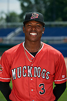 Batavia Muckdogs Demetrius Sims (3) poses for a photo on July 2, 2018 at Dwyer Stadium in Batavia, New York.  (Mike Janes/Four Seam Images)