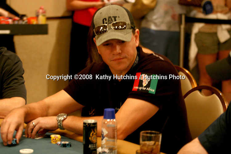 Matt Damon inside the Ante up for Africa Poker Tournament at the 2008 World Series of Poker, at the Rio All-Suite Hotel & Casino in.Las Vegas, NV.July 2, 2008.©2008  Kathy Hutchins / Hutchins Photo....