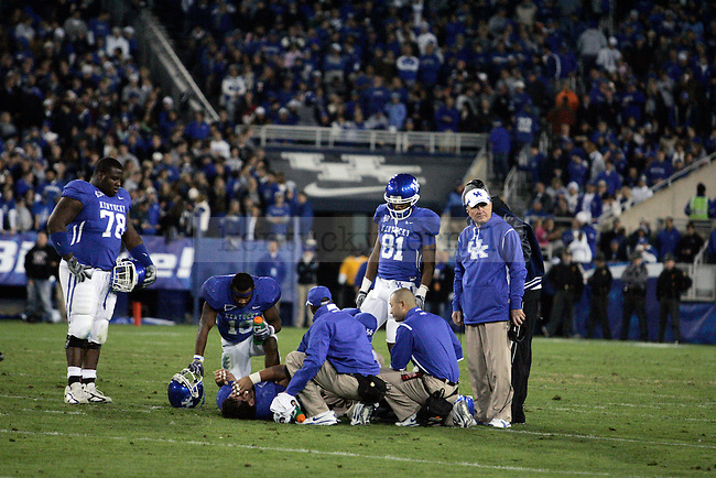Senior center Jorge Gonzalez gets injured in the first half of the UK's 24-30 loss to Tennessee at Commonwealth Stadium on Saturday, Nov. 28, 2009.
