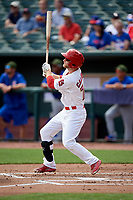 Memphis Redbirds second baseman Bruce Caldwell follows through on a swing during a game against the Iowa Cubs on May 29, 2017 at AutoZone Park in Memphis, Tennessee.  Memphis defeated Iowa 6-5.  (Mike Janes/Four Seam Images)