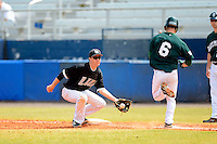 Long Island Blackbirds second baseman Evan Emerich #2 takes a throw as Matt Parisi #6 runs to the bag during a game against the Dartmouth Big Green at Chain of Lakes Stadium on March 17, 2013 in Winter Haven, Florida.  Dartmouth defeated Long Island 11-4.  (Mike Janes/Four Seam Images)