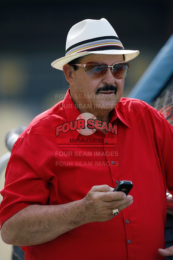 Los Angeles Dodgers Scout Mike Brito during batting practice before a 2007 MLB season game at Dodger Stadium in Los Angeles, California. (Larry Goren/Four Seam Images)