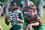 Dominic Olson attempts to catch the fast moving Ahsee Tuala. Counties Manukau Premier Club Rugby game between Wauku & Manurewa played at Waiuku on Saturday June 6th. Manurewa won 36 - 31 after leading 14 - 12 at halftime.