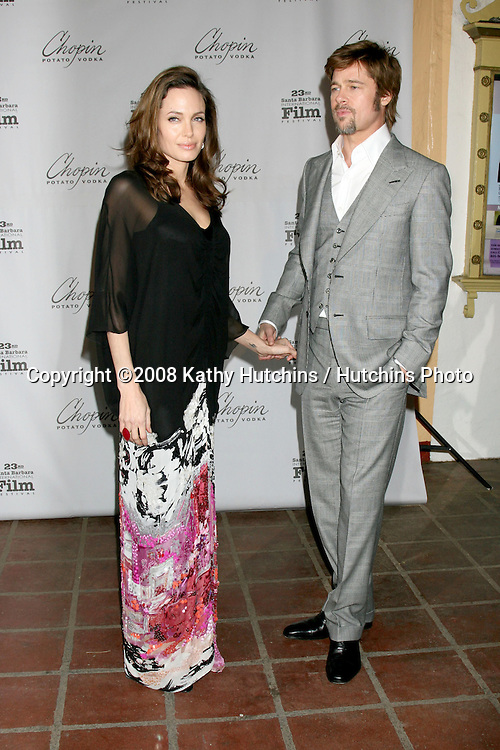 Angelina Jolie & Brad Pitt.Performance of the Year Award to Angelina Jolie.Santa Barbara International Film Festival.Santa Barbara, CA.February 2, 2008.©2008 Kathy Hutchins / Hutchins Photo....