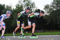 INLINE-SKATEN: STEENWIJK: Gagelsweg (start/finish), Schansweg, Meppelerweg, KPN Inline Cup, Klim van Steenwijk, 02-05-2012, Bart Swings (#61), Ewen Fernandez (#527), ©foto Martin de Jong