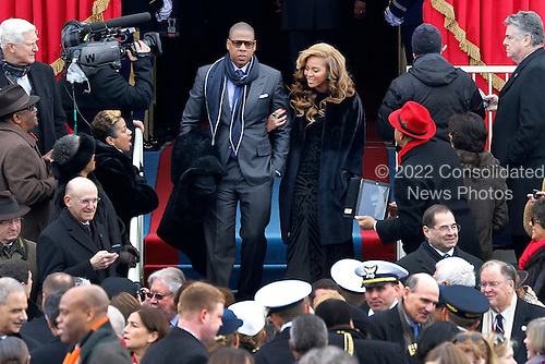 Beyonce and Jay-Z arrive at the ceremonial swearing-in for President Barack Obama at the U.S. Capitol during the 57th Presidential Inauguration in Washington, Monday, Jan. 21, 2013..Credit: Scott Andrews / Pool via CNP