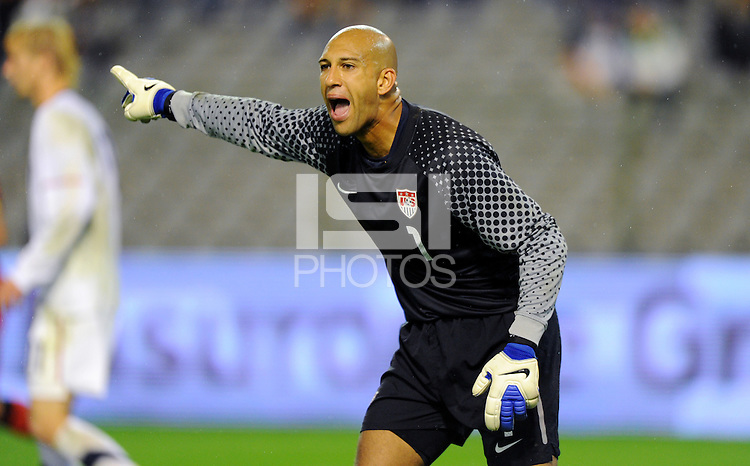 Goalkeeper Tim Howard of team USA during the friendly match Belgium against USA at King Baudoin stadium in Brussel, Belgium on September 06th, 2011.