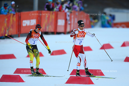 (L-R) Eric Frenzel (GER), Akito Watabe (JPN), <br /> FEBRUARY 12, 2014 - Nordic Combined : <br /> Individual Gundersen NH/10km <br /> at &quot;RUSSKI GORKI&quot; Jumping Center <br /> during the Sochi 2014 Olympic Winter Games in Sochi, Russia. <br /> (Photo by Yohei Osada/AFLO SPORT)