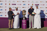 Justin Harding with officials after the final round of the Commercial Bank Qatar Masters, Doha Golf Club, Doha, Qatar. 10/03/2019<br /> Picture: Golffile | Phil Inglis<br /> <br /> <br /> All photo usage must carry mandatory copyright credit (&copy; Golffile | Phil Inglis)