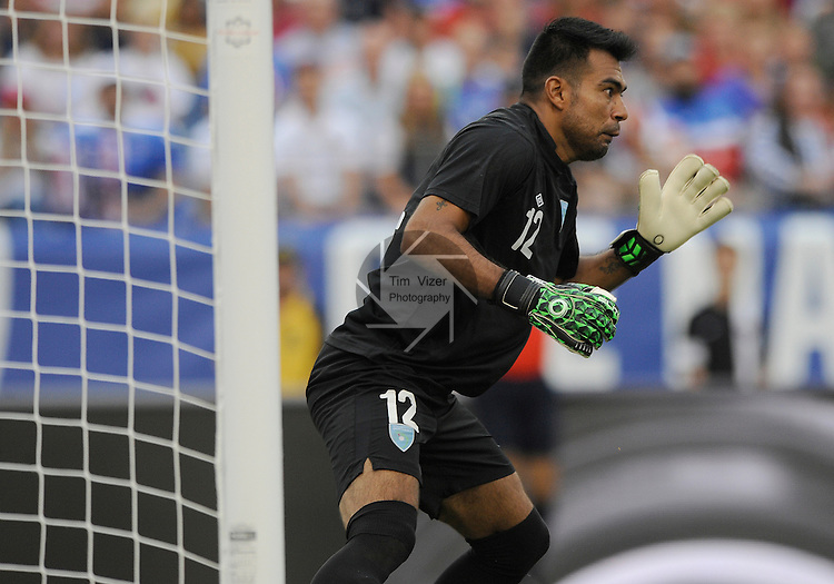 Guatemala goalkeeper Paulo Motta (12) prepares for a shot on goal by the USA in the second half. Guatemala played the USA Men's National Team in an International Friendly soccer game on Friday July 3, 2015 at Nissan Stadium in Nashville, Tennessee. The USA won, 4-0.