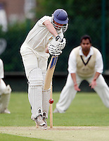 S Dishon bats for Shepherds Bush during the Middlesex County League Division two game between Shepherds Bush and Hornsey at Bromyard Avenue, East Acton on Sat July 23, 2011
