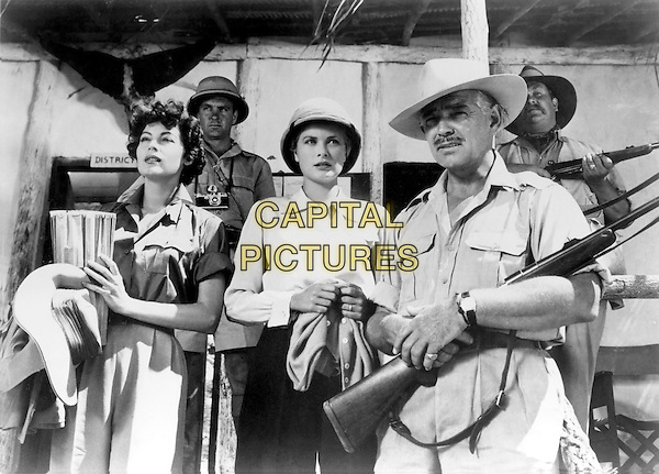 AVA GARDNER, GRACE KELLY & CLARK GABLE.in Mogambo (1953).*Filmstill - Editorial Use Only*.CAP/STF/PEL.Supplied by Capital Pictures.