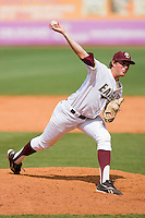 Relief pitcher Kevin Moran #34 of the Boston College Eagles in action against the Miami Hurricanes at the 2010 ACC Baseball Tournament at NewBridge Bank Park May 27, 2010, in Greensboro, North Carolina.  The Eagles defeated the Hurricanes 12-10 in 10 innings.  Photo by Brian Westerholt / Four Seam Images