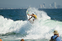 SNAPPER ROCKS, Queensland/Australia (Monday, 27 February, 2012) Jordy Smith (ZAF).  – The Quiksilver Pro Gold Coast presented by Land Rover, the opening stop on the 2012 Men's ASP World Championship Tour, ran for the fourth consecutive day at Snapper Rocks today, in two-to-three foot (1 metre) waves at Snapper Rocks.. .Adriano De Souza (BRA), 25, won the first three-man, non-elimination heat of Round 4 of the Quiksilver Pro. The lead changed multiple times between De Souza, Owen Wright (AUS), 22, and Josh Kerr (AUS), 27, with the Brazilian taking out the two Australians and advancing directly into the Quarterfinals.. .De Souza will once again face Owen Wright (AUS), 22, who went on to win his afternoon Round 5 heat, in Quarterfinal 1 when competition resumes.. .Kelly Slater (USA), 40, reigning 11 x ASP World Champion and last year's Quiksilver Pro winner, didn't take his foot off the gas in his morning Round 4 heat win. The iconic Floridian built momentum throughout the affair, even changing equipment mid-heat to adjust to the conditions. .Slater will now face Josh Kerr (AUS), 27, in Quarterfinal 2 when competition resumes.. .Jordy Smith (ZAF), 24, edged out Joel Parkinson (AUS), 30, and Miguel Pupo (BRA), 20, in an exciting Round 4 exchange at Snapper Rocks. Smith and Parkinson put on an epic show for the crowd and finished the heat with only 0.14 separating their score lines..Photo: joliphotos.com