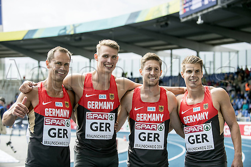 22.06.2014. Braunschweig, Germany. EAA Track and Fileld European Athletics Championships. Alexander Kosenkow Sven Knipphals Christian Blum Julian Reus Germany team second in the 4x100m for men
