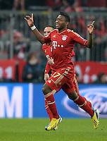 FUSSBALL  CHAMPIONS LEAGUE  VIERTELFINALE  HINSPIEL  2012/2013      FC Bayern Muenchen - Juventus Turin       02.04.2013 Jubel nach dem 1:0: David Alaba (FC Bayern Muenchen) bejubelt sein Tor zum 1:0