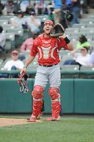 Harrisburg Senators catcher Brandon Bantz (13) during the game against the Trenton Thunder at ARM & HAMMER Park on May 21, 2014 in Trenton, New Jersey.  Harrisburg defeated Trenton 9-0.  (Tomasso DeRosa/Four Seam Images)