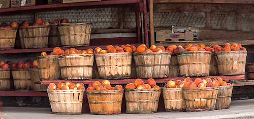 Peach baskets at a market in rural Utah
