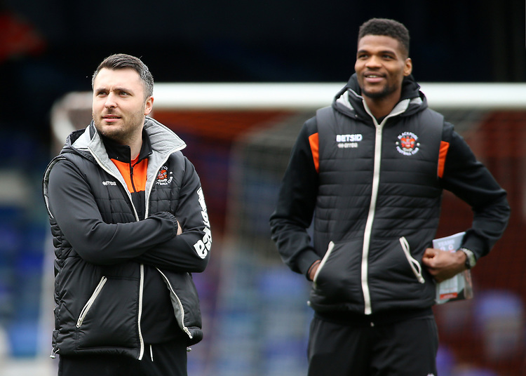 The Blackpool players and coaching staff inspect the pitch before kick off<br /> <br /> Photographer David Shipman/CameraSport<br /> <br /> The EFL Sky Bet League One - Luton Town v Blackpool - Saturday 6th April 2019 - Kenilworth Road - Luton<br /> <br /> World Copyright © 2019 CameraSport. All rights reserved. 43 Linden Ave. Countesthorpe. Leicester. England. LE8 5PG - Tel: +44 (0) 116 277 4147 - admin@camerasport.com - www.camerasport.com