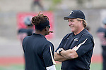 Palos Verdes, CA 11/10/11 - Coach Kevin Moen and Coach James Mays at the Peninsula-Palos Verdes varsity football game.