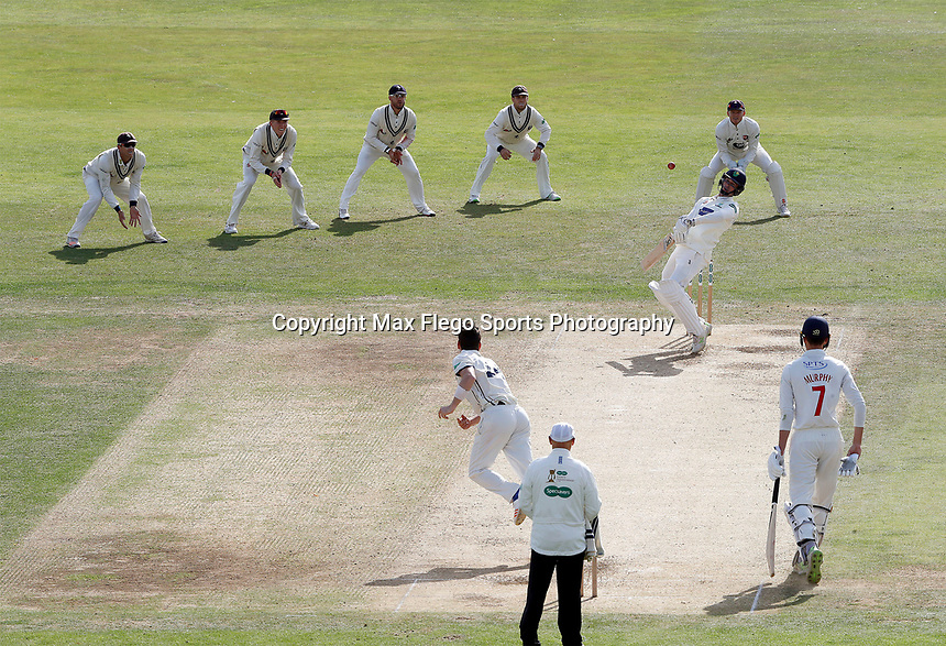 Matt Henry of Kent bowls to Ruaidhri Smith during the Specsavers County Championship division two game between Kent and Glamorgan (day 3) at the St Lawrence Ground, Canterbury, on Sept 20, 2018