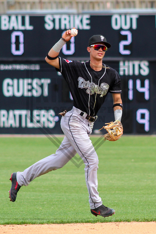 Lansing Lugnuts second baseman Kevin Vicuna (3) during a Midwest League game against the Wisconsin Timber Rattlers on May 8th, 2018 at Fox Cities Stadium in Appleton, Wisconsin. Lansing defeated Wisconsin 11-4. (Brad Krause/Krause Sports Photography)