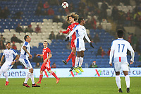 Ethan Ampadu of Wales competes with Leslie Heraldez of Panama for the aerial ball during the International Friendly match between Wales and Panama at The Cardiff City Stadium, Wales, UK. Tuesday 14 November 2017