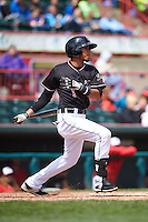 Erie Seawolves shortstop Harold Castro (1) at bat during a game against the Richmond Flying Squirrels on May 20, 2015 at Jerry Uht Park in Erie, Pennsylvania.  Erie defeated Richmond 5-2.  (Mike Janes/Four Seam Images)