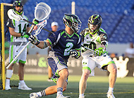 Annapolis, MD - July 7, 2018: Chesapeake Bayhawks Colin Heacock (2) holds off New York Lizards Pat Frazier (30) during the game between New York Lizards and Chesapeake Bayhawks at Navy-Marine Corps Memorial Stadium in Annapolis, MD.   (Photo by Elliott Brown/Media Images International)