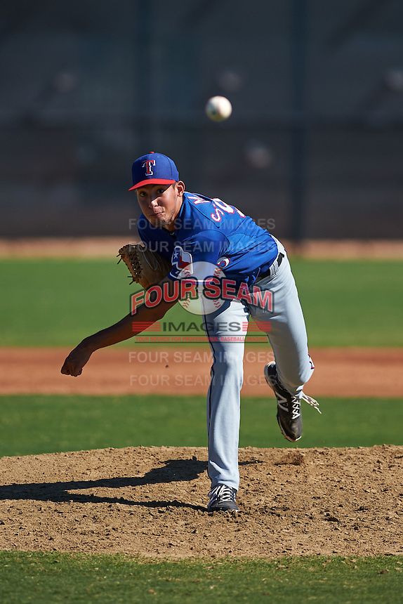 Texas Rangers pitcher Sal Mendez (93) during an instructional league game against the San Diego Padres on October 9, 2015 at the Surprise Stadium Training Complex in Surprise, Arizona.  (Mike Janes/Four Seam Images)