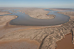 Aerial - The Warburton Groove. Water from the Warburton Creek coming into Lake Eyre north.