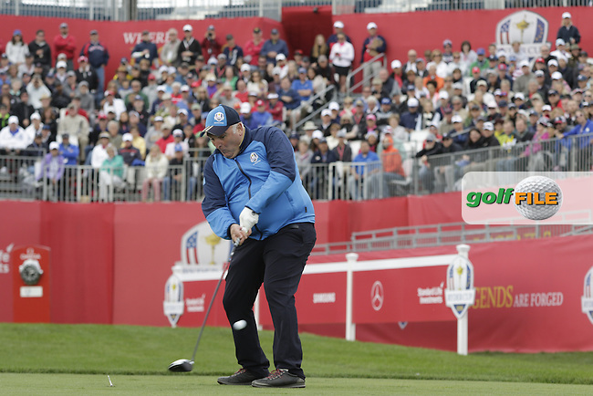 Jose Andres playing in Match 3 of the Ryder Cup Celebrity Matches during Tuesday's Practice Day of the 41st RyderCup held at Hazeltine National Golf Club, Chaska, Minnesota, USA. 27th September 2016.<br /> Picture: Eoin Clarke | Golffile<br /> <br /> <br /> All photos usage must carry mandatory copyright credit (&copy; Golffile | Eoin Clarke)