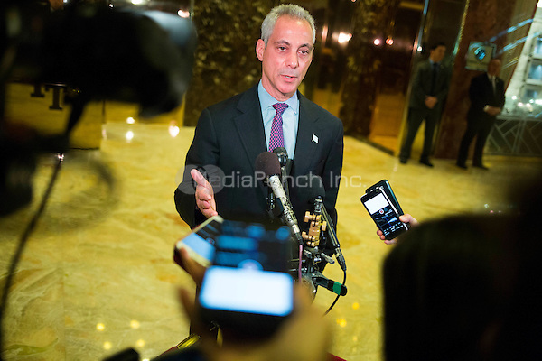 Mayor Rahm Emanuel (Democrat of Chicago) speaks to members of the media at Trump Tower in Manhattan, New York, New York, USA on Wednesday, December 7, 2016. <br /> Credit: John Taggart / Pool via CNP /MediaPunch