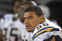 Aug 25, 2007; Glendale, AZ, USA; San Diego Chargers linebacker Shawne Merriman (56) against the Arizona Cardinals at University of Phoenix Stadium. Mandatory Credit: Mark J. Rebilas-US PRESSWIRE Copyright © 2007 Mark J. Rebilas