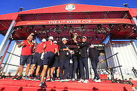 At the presentation after the Singles matches at the Ryder Cup, Hazeltine National Golf Club, Chaska, Minnesota, USA.  02/10/2016<br /> Picture: Golffile | Fran Caffrey<br /> <br /> <br /> All photo usage must carry mandatory copyright credit (&copy; Golffile | Fran Caffrey)