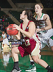 Denver Pioneer Women guard Emiko Smith (13) in action during the game between the Denver Pioneer Women and the University of North Texas Mean Green at the North Texas Coliseum,the Super Pit, in Denton, Texas. Denver defeats UNT 50 to 44...