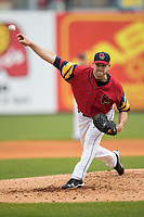 Toledo Mud Hens pitcher Warwick Saupold (16) delivers a pitch to the plate against the Lehigh Valley IronPigs during the International League baseball game on April 30, 2017 at Fifth Third Field in Toledo, Ohio. Toledo defeated Lehigh Valley 6-4. (Andrew Woolley/Four Seam Images)