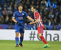 Leicester City's Shinji Okazaki closely marked by Atletico Madrid's Juanfran<br /> <br /> Photographer Stephen White/CameraSport<br /> <br /> UEFA Champions League Quarter Final Second Leg - Leicester City v Atletico Madrid - Tuesday 18th April 2017 - King Power Stadium - Leicester <br />  <br /> World Copyright &copy; 2017 CameraSport. All rights reserved. 43 Linden Ave. Countesthorpe. Leicester. England. LE8 5PG - Tel: +44 (0) 116 277 4147 - admin@camerasport.com - www.camerasport.com