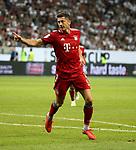 12.08.2018, Commerzbank - Arena, Frankfurt, GER, Supercup, Eintracht Frankfurt vs FC Bayern M&uuml;nchen , <br />DFL REGULATIONS PROHIBIT ANY USE OF PHOTOGRAPHS AS IMAGE SEQUENCES AND/OR QUASI-VIDEO.<br />im Bild<br />Robert Lewandowski (M&uuml;nchen) jubelt &uuml;ber sein Tor zum 3:0<br /> <br /> Foto &copy; nordphoto / Bratic
