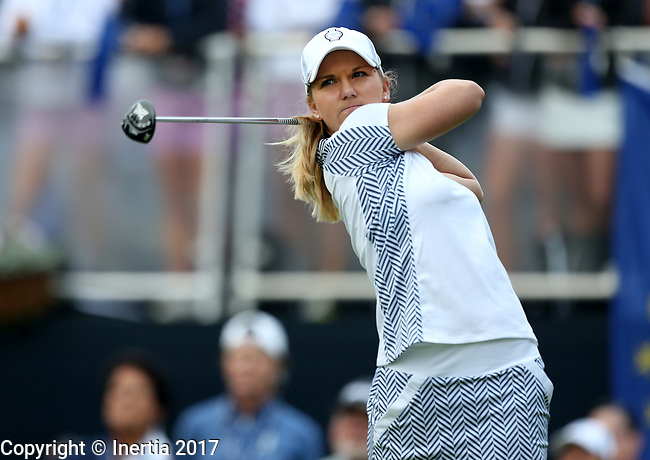 DES MOINES, IA - AUGUST 19: USA's Austin Ernst tees off on the first hole during Saturday morning's foursomes match at the 2017 Solheim Cup in Des Moines, IA. (Photo by Dave Eggen/Inertia)