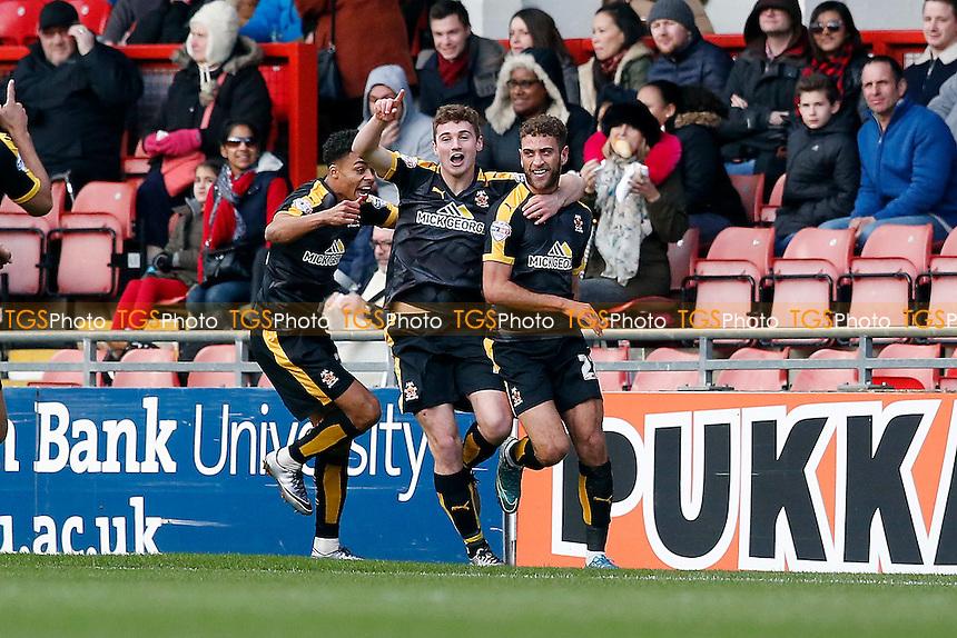 Ben Williamson scores past keepr Alex Cisak and celebrates during Leyton Orient vs Cambridge United, Sky Bet League 2 Football at the Matchroom Stadium, London, England on 30/01/2016