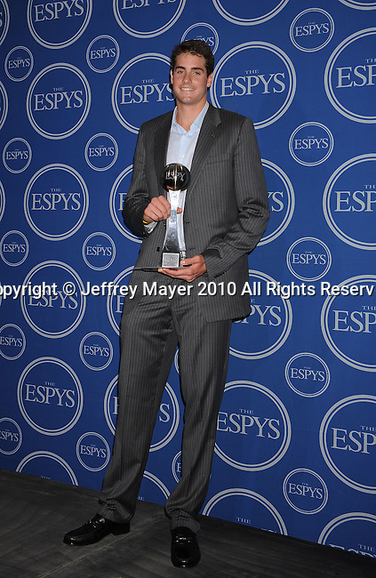 LOS ANGELES, CA. - July 14: Tennis player John Isner poses in press room during 2010 ESPY Awards at Nokia Theatre L.A. Live on July 14, 2010 in Los Angeles, California.